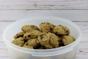 Bowl of Chocolate Applesauce Cookies - Jaimie Listens: Soft and spongy chocolate chip cookies that everyone fights over! They are a hybrid of chocolate chip banana bread and regular chocolate chip cookies. The perfect cookie if you like them to be soft and stay soft without being undercooked. Grandma always had these cookies ready for us when we would come to visit.
