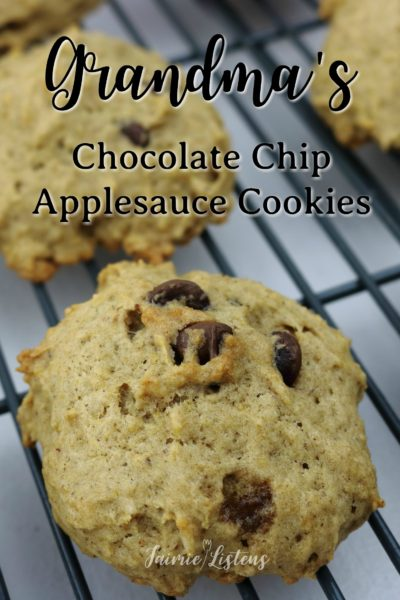 Floating Chocolate Chip Applesauce Cookies – Jaimie Listens: Soft and spongy chocolate chip cookies that everyone fights over! They are a hybrid of chocolate chip banana bread and regular chocolate chip cookies. The perfect cookie if you like them to be soft and stay soft without being undercooked. Grandma always had these cookies ready for us when we would come to visit.