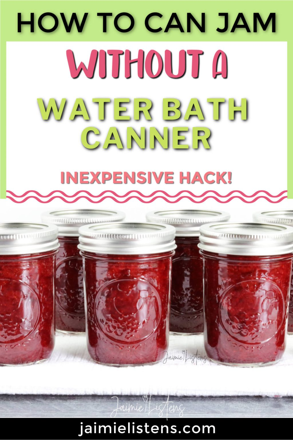 How to Can Jam Without a Waterbath Canner - Jaimie Listens: If you want to can jam and don't have a canner, here's how you do it. lncludes an easy materials list.
